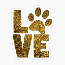 I Love Dogs Love Paw Print Paw Heart Gold Glitter Photographic Print By Maxhater Redbubble