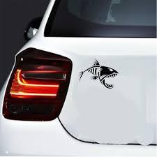 2pcs Car Decal 13 2cm 10 2cm Skeleton Fish Bones Fear No Fish Fishing Vinyl Car Decal Sticker Cars Acessories Decoration Black White Silver Red Size 6 6 Wish