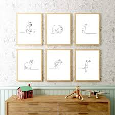 Nursery Wall Art Animal Poster And Print Line Drawing Minimalist Kids Room Wall Decor Modern Gallery Animals Art Canvas Painting Painting Calligraphy Aliexpress