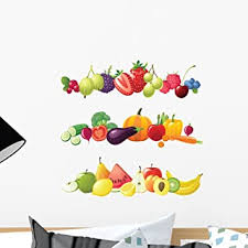 Amazon Com Wallmonkeys Fot 33091637 18 Wm138735 Fruits Vegetables And Berries Borders Peel And Stick Wall Decals H X 18 In W 18 18 W Small Home Kitchen