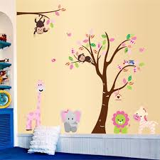 Giraffe Elephant Monkey Lion Colorful Tree Wall Stickers For Kids Room Wall Decal Jungle Animals Nursery Room Home Decor Mural Wall Stickers Aliexpress