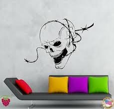 Wall Stickers Vinyl Decal Skull Barbed Wire Zombie Creepy Scary Decor Z2137 682017262895 Ebay