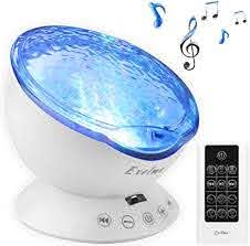 Exelme Night Light Projector Ocean Wave Sound Machine With Soothing Nature Noise And Relaxing Light Show Color Changing Wave Light Effects For Kids Adults Bedroom Living Room Amazon Com