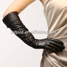 las black long leather gloves with