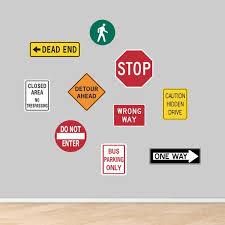 Road Signs Printed Wall Decal Set