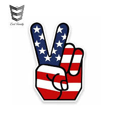 Earlfamily 13cm X 8cm Reflective Peace Hand Gesture Sign Usa American Flag Decal Sticker Car Vinyl Waterproof Tuning Decal Car Stickers Aliexpress