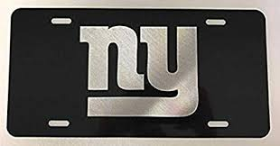 Amazon Com Ny Giants Laser Engraved Etched Logo License Plate Vanity Car Tag Gloss Black Everything Else
