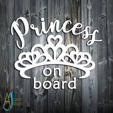 Baby On Board Princess Car Decal Princess On Board Car Etsy