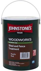 5 Ltr Johnstone S Woodworks Shed Fence Quick Dry Woodstain Rustic Red Amazon Co Uk Diy Tools