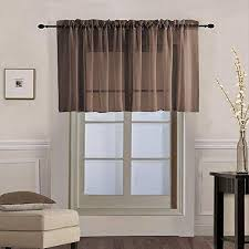 Amazon Com 4 Pcs Solid Brown Sheer Window Curtains Short Curtains Valance Tier For Small Window Rod Pocket Panel Voile Drapes Door Curtain Tulle Window Treatment Sets For Kid S Room Kitchen Cafe W39