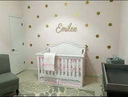 Baby Girl Nursery Gold Nursery Gold Polka Dots Decals Wall Etsy
