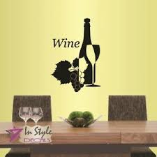 Vinyl Decal Wine Glass Bottle Grapes Kitchen Dining Room Winery Wall Decor 584 Ebay