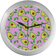 Amazon Com Office Wall Clock Cute Avocado And Tropical Leaves Wall Clock For Kids 9 65 Inch Silver Quartz Frame Decor For Office School Kitchen Living Room Bedroom Home Kitchen