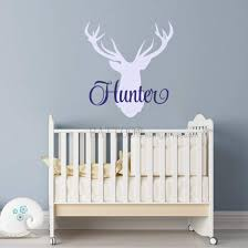 Buy Battoo Antler Wall Decal Personalized Hunting Nursery Decor Hunting Boys Name Wall Decal Deer Antler Wall Decal 40 H Woodland Nursery Kids Room Decor Plus Free Hello Door Decal In Cheap