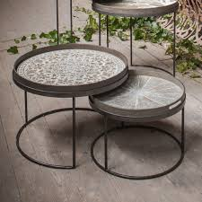 notre monde round tray table set low