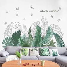 Amazon Com Green Banana Leaf Tropical Plants Jungle Wall Stickers Peel And Stick Palm Tree Plant Monstera Leaves Wall Decals Diy Wall Art Decor Home Decorations Wallpaper For Living Room Bedroom C Kitchen