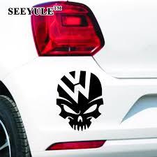 Cheap 1pc Seeyule Ghost Rider Skull Crazy Car Sticker Emblem Fuel Tank Cover Vinyl Decal For Vw Beetle Tiguan Golf 4 5 6 Passat B5 B6 Best Exterior Accessories 2019