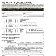 fitness screening forms