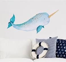 Baby Narwhal Wall Decal Sticker Ocean Sea Unicorn Nautical Nursery Room Decor Whale Wall Art Baby Shower Birthday Gift Narwhale Baby Wall Art Whale Wall Art Narwhal