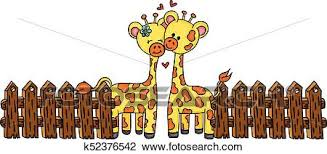 Cute Couple Giraffe With Wooden Fence Clipart K52376542 Fotosearch
