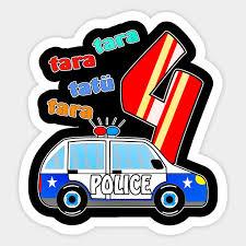 Polizeiauto 4 Polizei Auto 4 Kinder Geburtstag Sticker Teepublic