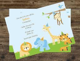 Safari Jungle Zoo Animal 1st Birthday Party Invitations