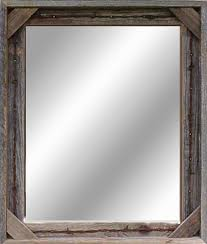 barn wood mirror with barbed wire