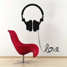 Headphone Love Wire Wall Art Decal Trendy Wall Designs