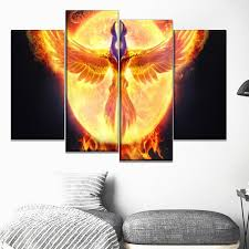 Dota 2 Fire Phoenix Gaming 4 Pieces Canvas Wall Art Art Canvas Wall Art Wall Art