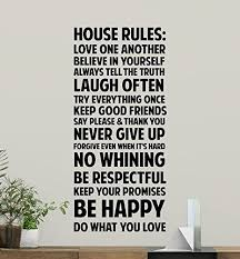 Amazon Com House Rules Wall Decal Sign Family Quote Inspirational Sayings Motivational Gift Vinyl Sticker Bedroom Print Wall Art Room Decor Poster Custom Mural 158bar Kitchen Dining
