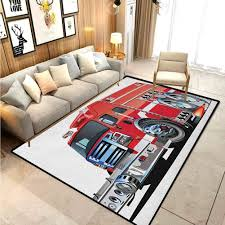 Amazon Com Cars Rugs For Entryway Large Area Rugs Big Fire Truck With Emergency Equipments Universal Safety Rescue Team Engine Cartoon For Kids Baby Room Bedroom Nursery Red Silver 6 X 7 Ft