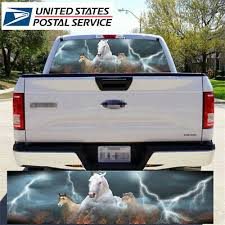 White Running Horses Rear Window Decal Sticker Pick Up Truck Suv Car Auto Parts And Vehicles Car Truck Graphics Decals Magenta Cl
