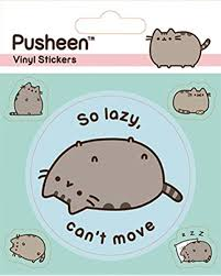 Amazon Com 1art1 Pusheen Sticker Adhesive Decal Lazy 5 X 4 Inches Furniture Decor