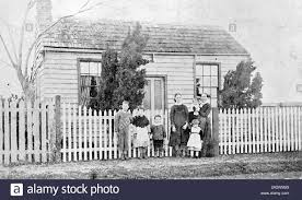 Negative Family Group Standing In Front Of A House Western Australia Circa 1895 A Woman