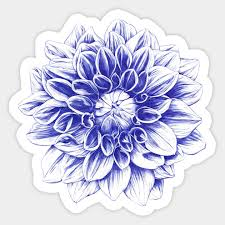 Ballpoint Blue Dahlia Flower Sticker Teepublic