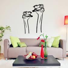 A Pair Of Cute Ostrich Head Vinyl Wall Decal Home Decor Living Room Room Bedroom Art Wallpaper Removable Wall Stickers Wall Sticker Removable Wall Stickersdecoration Living Room Aliexpress