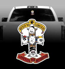 Samoyeds Rock Guns N Roses Vinyl Decal Car Vehicle Sticker Rockin Da Dogs
