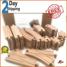 64 wooden train track lot set bridge