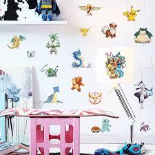 20pcs Pokemon Figures Pikachu Wall Sticker Pvc Decals Kids Room Mural Removable