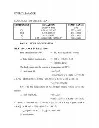 energy balance equations for specific