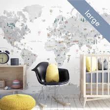 Large Countries Of The World Map Wall Decal Nursery Decor Nursery Art Kids World Map Travel Map Poster Map Wall Cling Wallpaper Map World Map Wall Decal Nursery Decor Inspiration