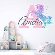 Amazon Com Girls Nursery Glitter Shimmer Sparkle Printed Unicorn Name And Initial Personalized Custom Name Vinyl Wall Decal Wall Decor Sticker Large Baby