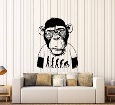 Vinyl Wall Decal Monkey Professor Bespectacled Funny Animal Stickers Wallstickers4you