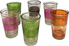 set of 6 moroccan tea glasses with trim