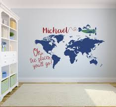 Amazon Com Custom World Map Name Wall Decal Nursery Airplanes Theme Decor Art Removable Oh The Places You Ll Go Sticker Vinyl 42 W X 26 H Home Kitchen