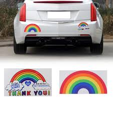 Rainbow Thank You Nhs Key Workers Car Window Sticker Removable Pvc Home Decor Decal Vinyl Window Decal Removable Waterproof Rainbow Sticker Car Sticker Key Workers Thank You Nhs Wish