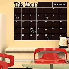 Amazon Com Dsnapoutof Chalk Board Blackboard Wall Stickers Daily Waterproof Month Calendar For Wall Decals Diy Perfect For Kids Bedding Room Study Room Home Office Decor Gift Home Kitchen