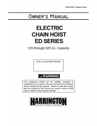 owners manual harrington hoists and