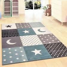 Children Rug Boys Bedroom Carpet Blue Grey Nursery Rugs Stars Soft Play Room Mat Ebay