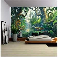 Wall26 Illustration Fantasy Forest Background Illustration Painting Removable Wall Mural Self Adhesive Large Wallpaper 100x144 Inches Amazon Com